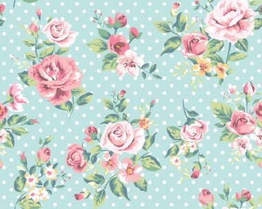 Wallpaper seamless vintage pink flower pattern on dots background