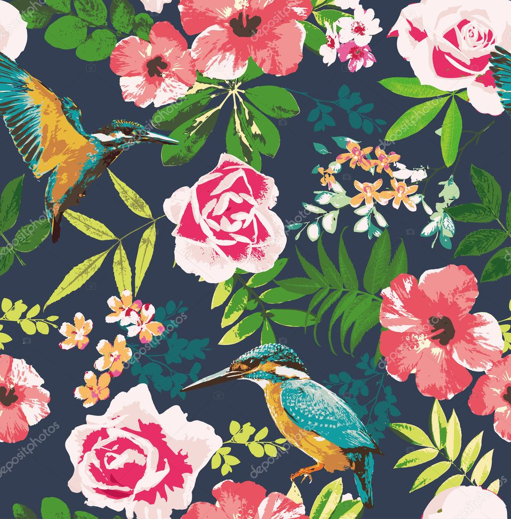 Vintage Style Tropical Bird And Flowers Background: Seamless Tropical Floral With Birds On Dot Background