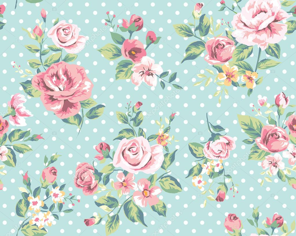 Wallpaper Seamless Vintage Pink Flower Pattern On Dots Background Stock Vector C Salomenj