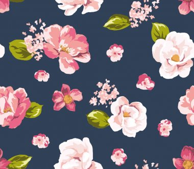 Seamless beautiful vintage flower pattern background