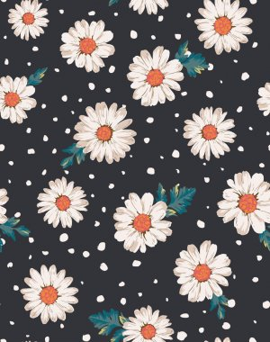 Seamless flower,daisy print pattern background