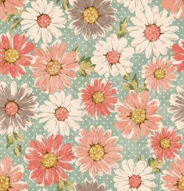 Seamless vintage flower,daisy print pattern dots background