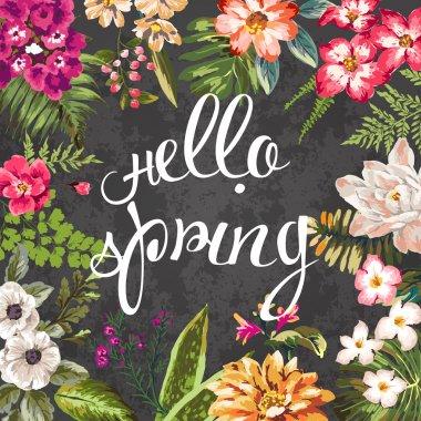 Seasons greeting card vintage flower design vector pattern