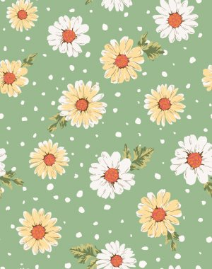 Seamless flower,daisy print pattern green background