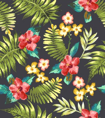Seamless hand draw tropical flower blossom vector pattern