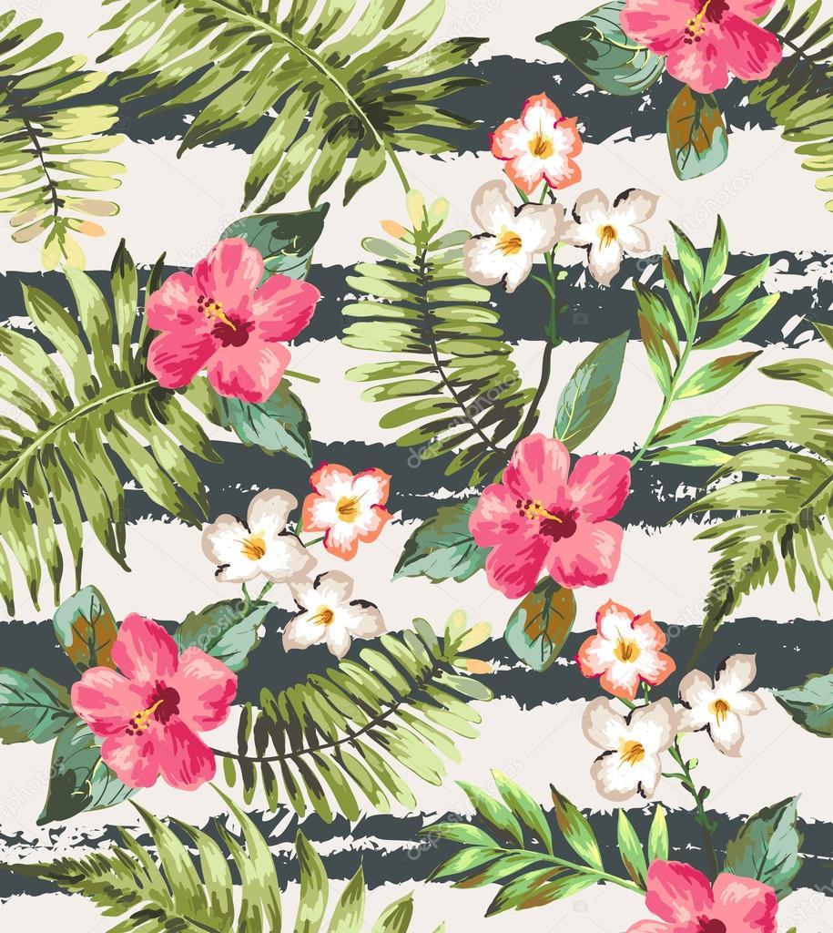 Flores tropicales incons tiles con cepillo raya vector - Flores tropicales fotos ...