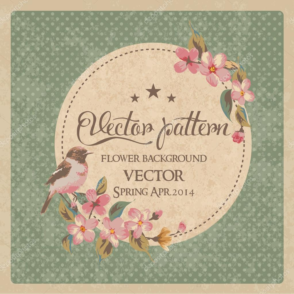 Vintage greeting card flower with birds vector pattern stock vector