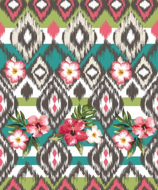 Seamless ethnic mix tropical flower vector print pattern