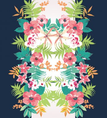 Tropical flower summer holiday vector pattern background,mirror effect