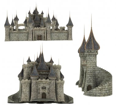 3d fantasy medieval castle parts and poses