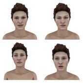 Fényképek Szép womans arckifejezések - vicsorgó, sóvárgó, kételkedő, bizakodó