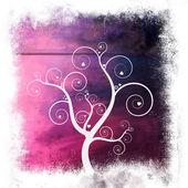 süß gerahmt Baum der Liebe auf Lavendel lila abstrakten Hintergrund