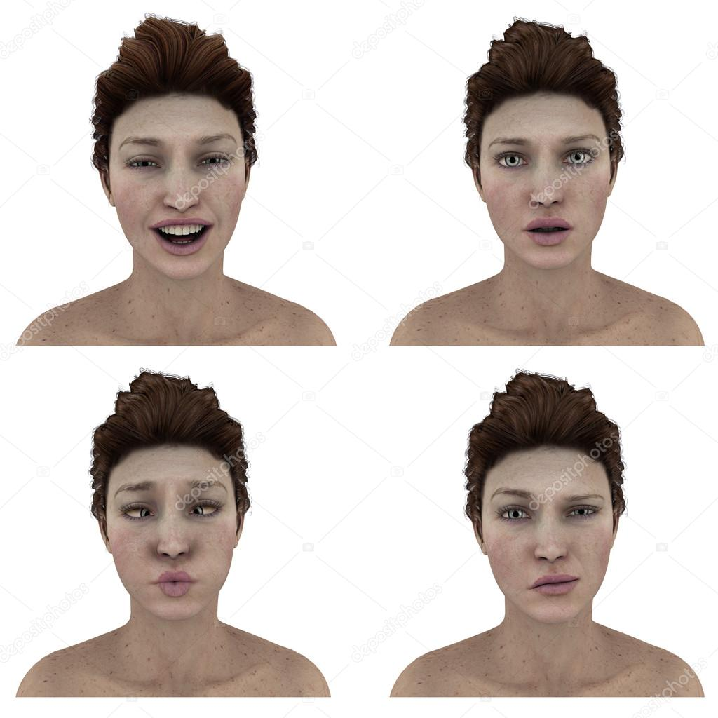 Pretty womans facial expressions - silly, smile, questioning, doubtful, cross-eyed
