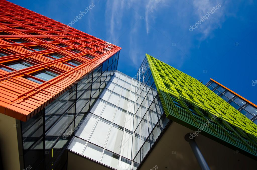 Office building in London with blue sky
