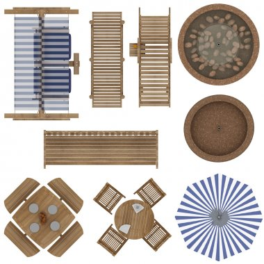 Outdoor Furniture Top View Set