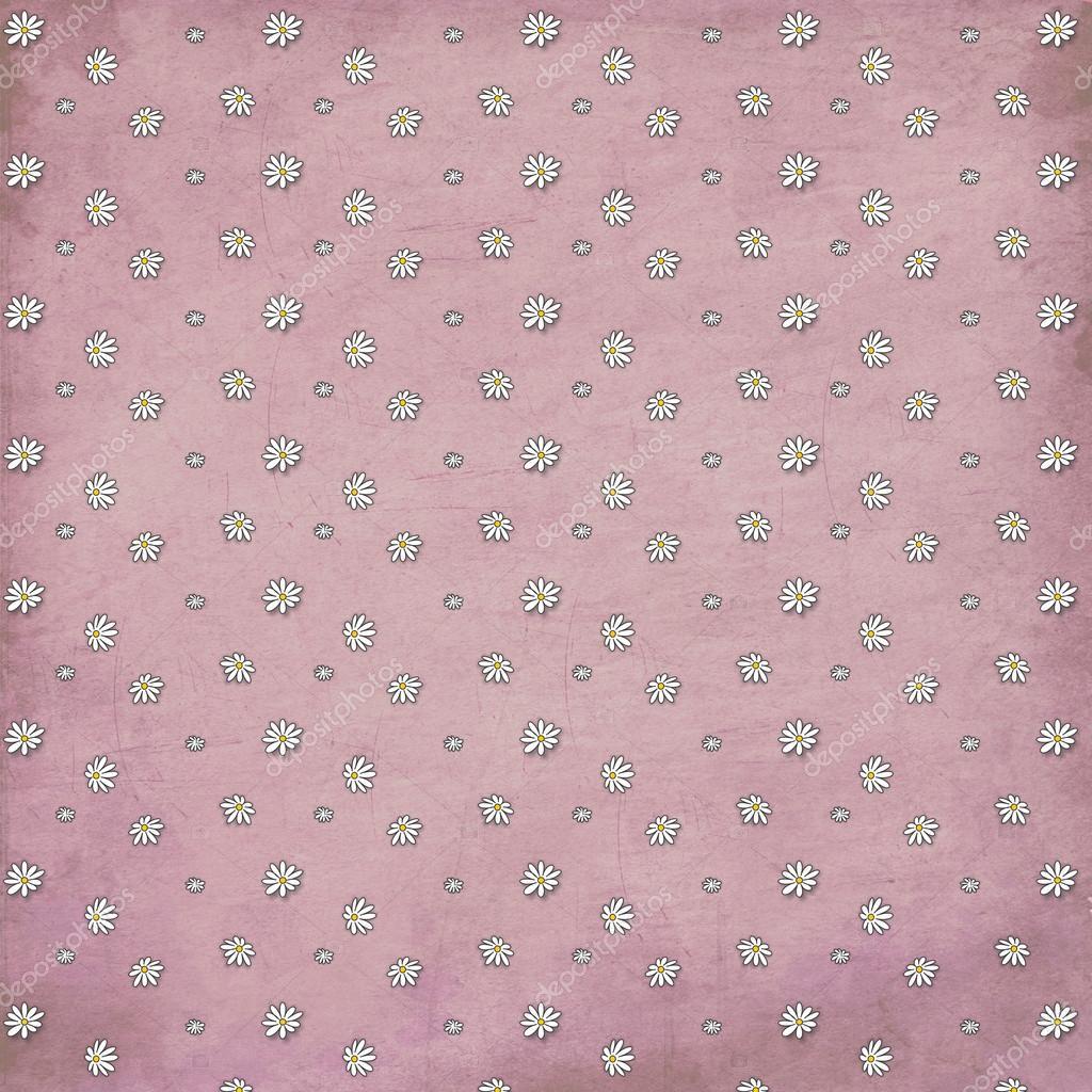 ピンク ビンテージ デイジー背景スクラップブッ キング ストック写真