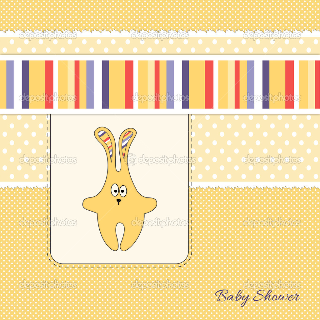 Yellow bunny baby shower invitation card — Stock Photo © yanapivovar ...
