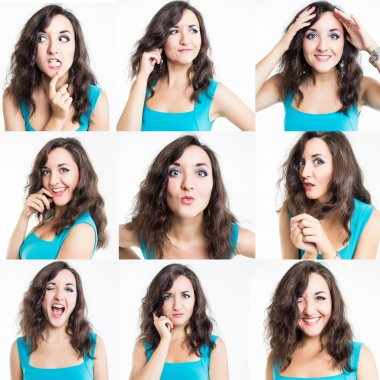Collage of nine photos of sweet young woman showing different emotions
