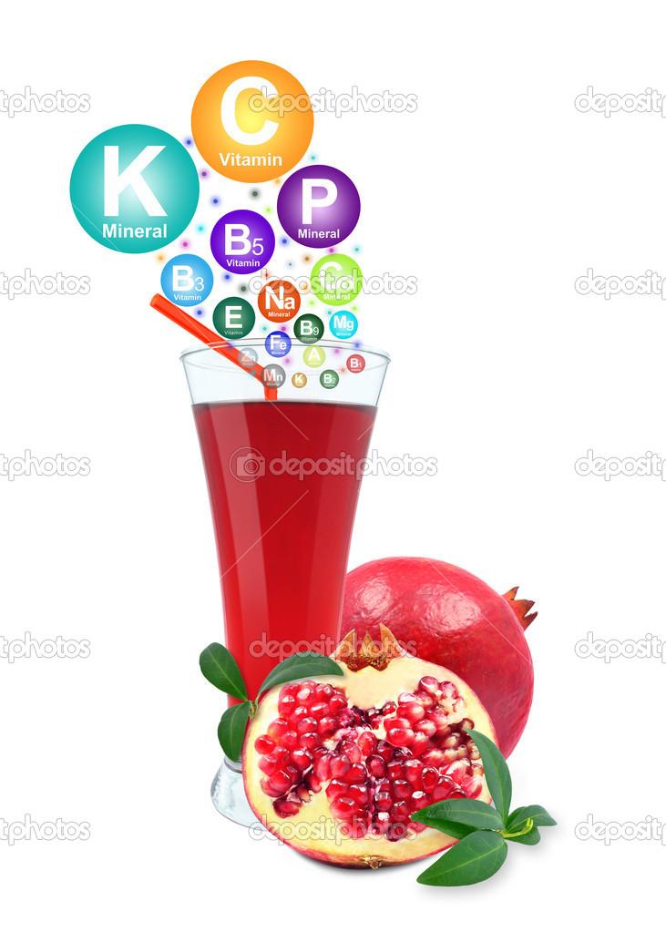pomegranate juice and vitamins stock photo iquazu 46190925