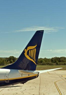 Ryanair symbol airplane tail in Pula airport.