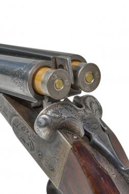 double barrel old shotgun charged