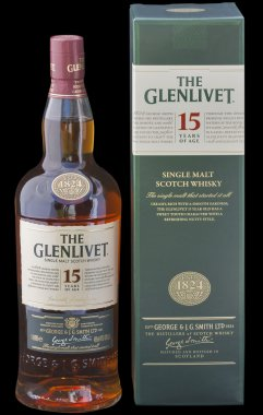 The Glenlivet Scotch whisky against black