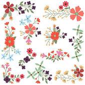 Fényképek Vektor sor Vintage stílusú virág klaszterek
