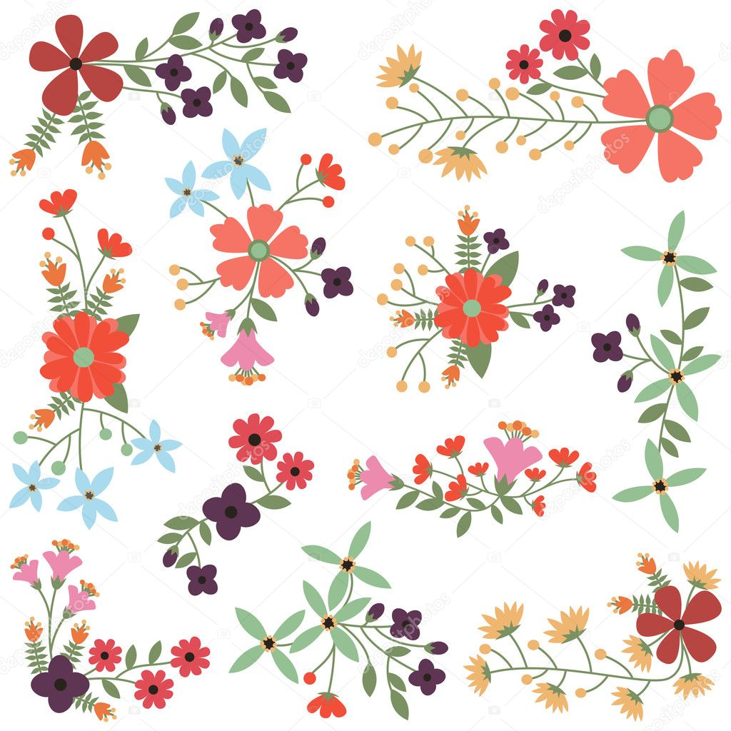 Vector Set of Vintage Style Flower Clusters