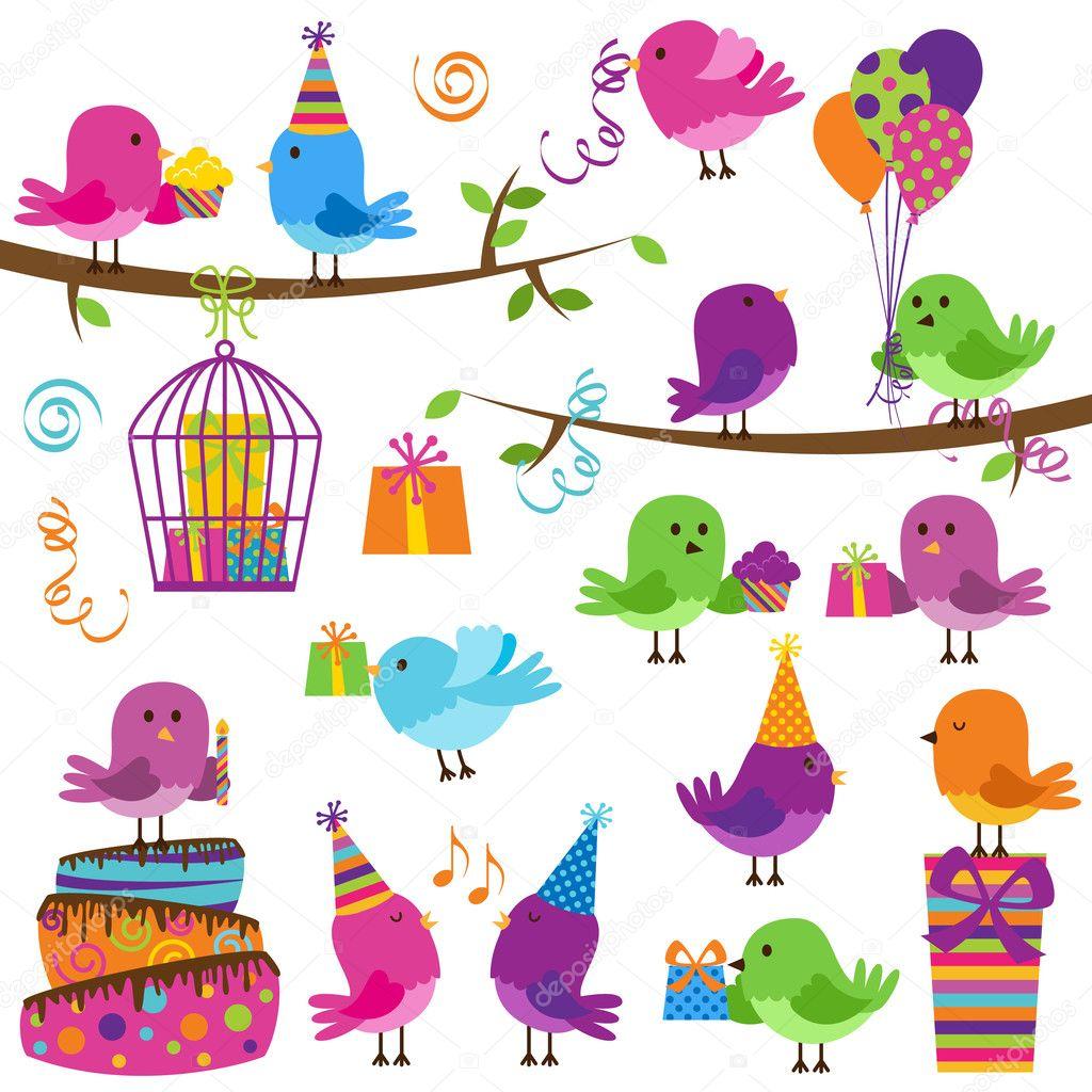 かわいいパーティーのテーマにした鳥のベクトルを設定 — ストック