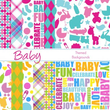 Set of 12 Baby Themed Vector Backgrounds