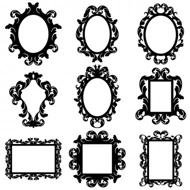 Vector Set of Baroque Frame Silhouettes