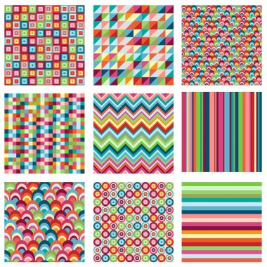 Vector Collection of Nine Bright Geometric Backgrounds