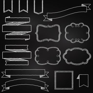Vector Collection of Chalkboard Style Banners, Ribbons and Frames stock vector