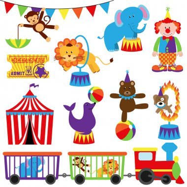 Vector Set of Cute Cartoon Circus Themed Images stock vector