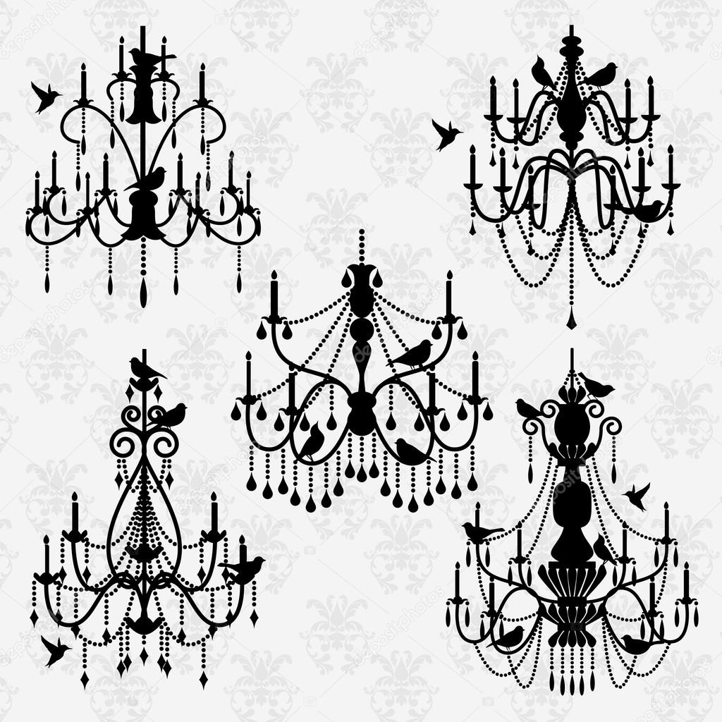 Vector set of chandelier vectors with birds stock vector black silhouette vector set of chandelier vectors with birds vector by pinkpueblo arubaitofo Gallery
