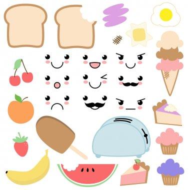 Vector Kawaii Food Set