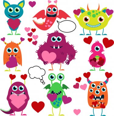 Vector Set of Cute Love Monsters clip art vector