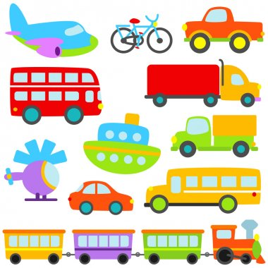 Cartoon Vector Transportation Set