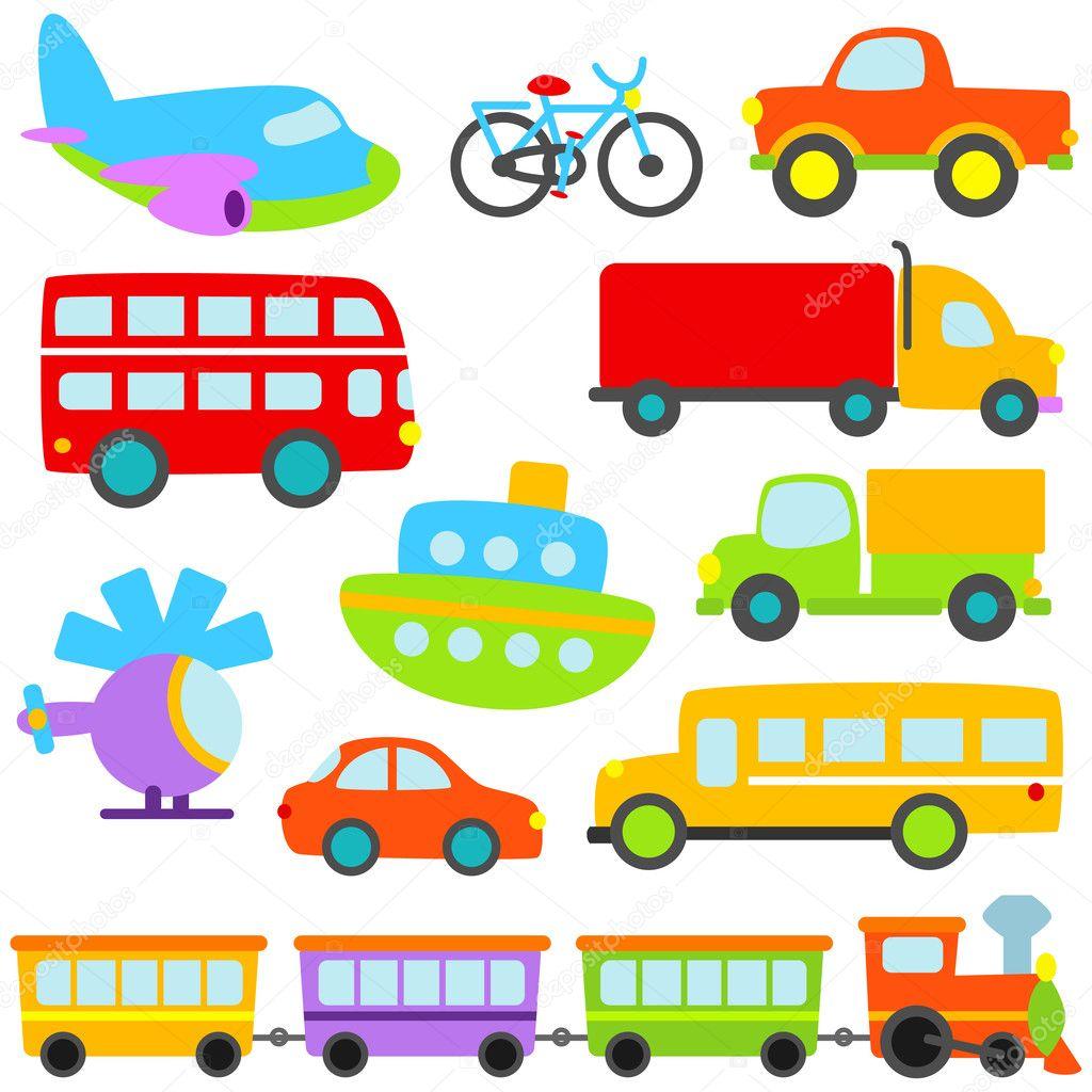 Cartoon Vector Transportation Set
