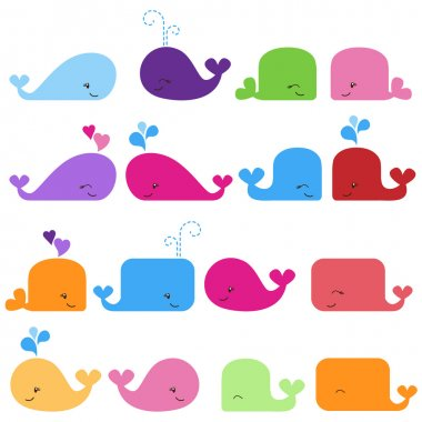 Rainbow Vector Set of Cute Whales