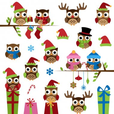 Vector Collection of Christmas Themed Owls