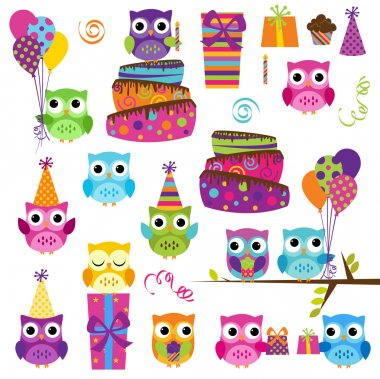Vector Set of Cute Party Themed Owls