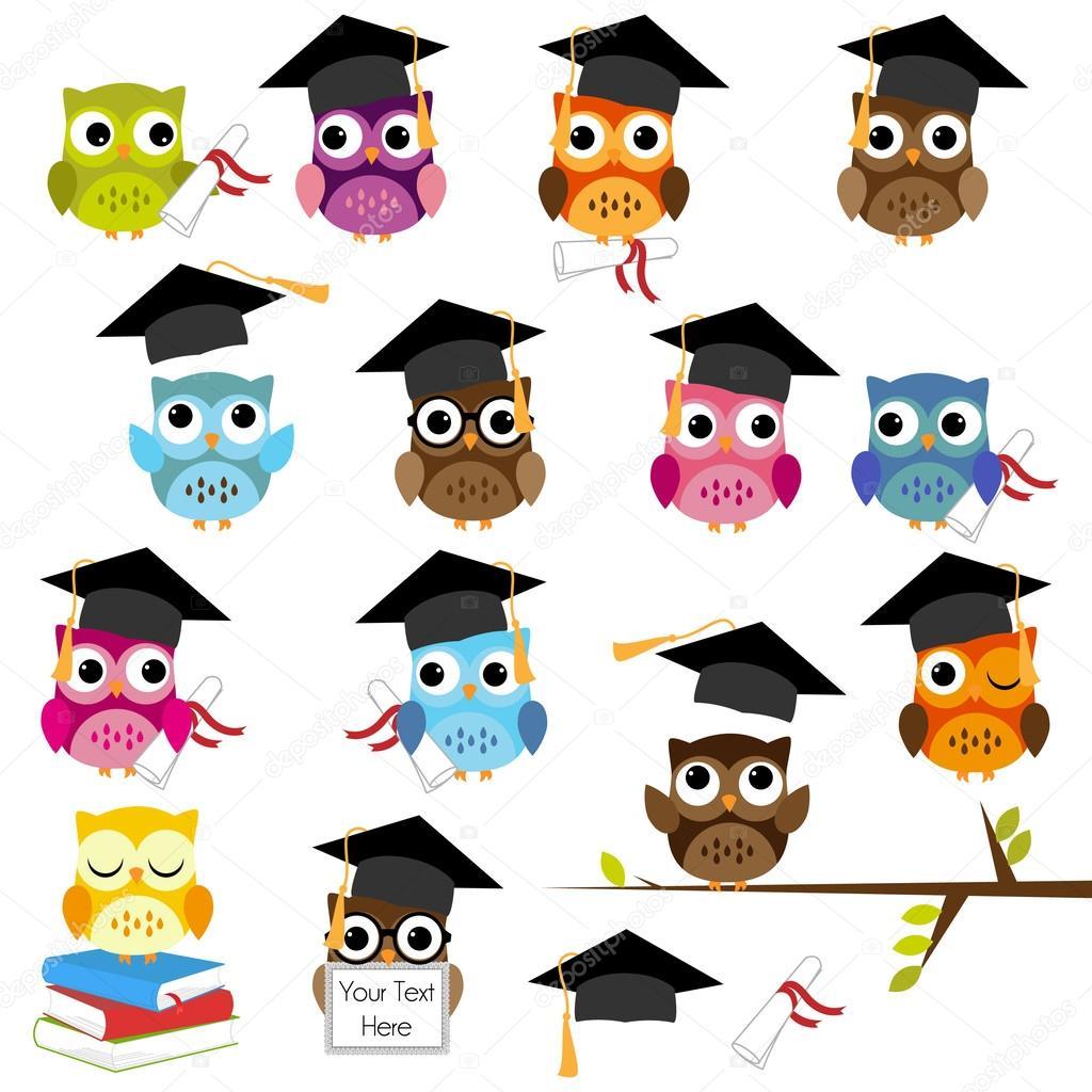 Vector Set of Cute School and Graduation Themed Owls