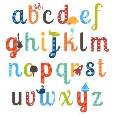 Cute Boy Themed Alphabet Vector Set
