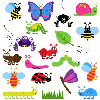 Large Vector Set of Cute Cartoon Bugs