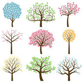 Fotografie Vector Collection of Stylized Tree Silhouettes