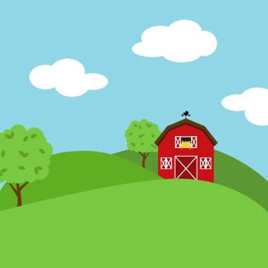 Cute Cartoon Vector Farm Landscape