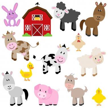 Vector Collection of Cute Cartoon Farm Animals and Barn