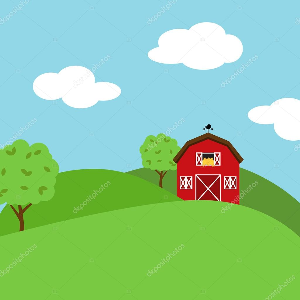 Cute Cartoon Vector Farm Landscape