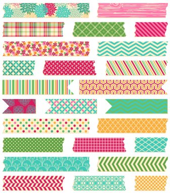 Vector Collection of Cute Patterned Washi Tape Strips stock vector